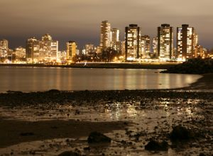 Downtown Vancouver at dusk from Kits